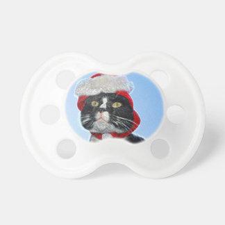 tuxedo cat wearing santa hat sparkle pacifiers