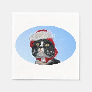 tuxedo cat wearing santa hat sparkle paper napkins