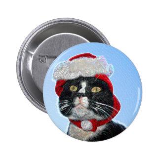 tuxedo cat wearing santa hat sparkle pin
