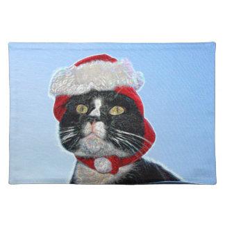 tuxedo cat wearing santa hat sparkle placemats