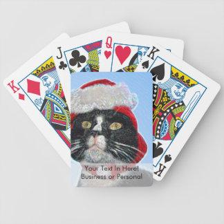 tuxedo cat wearing santa hat sparkle bicycle poker deck