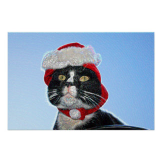 tuxedo cat wearing santa hat sparkle poster