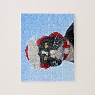 tuxedo cat wearing santa hat sparkle jigsaw puzzles