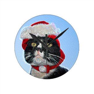 tuxedo cat wearing santa hat sparkle round clocks
