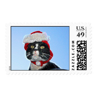 tuxedo cat wearing santa hat sparkle stamp