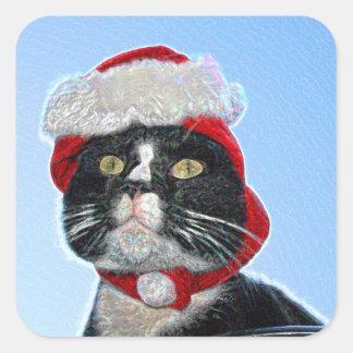 tuxedo cat wearing santa hat sparkle stickers