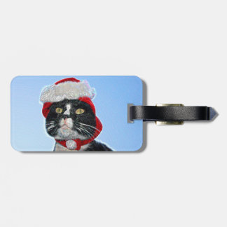 tuxedo cat wearing santa hat sparkle tags for bags