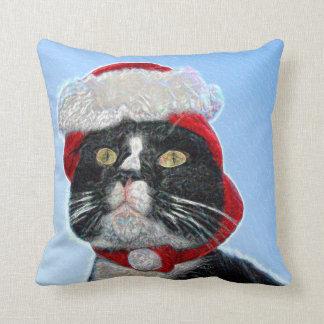 tuxedo cat wearing santa hat sparkle throw pillow