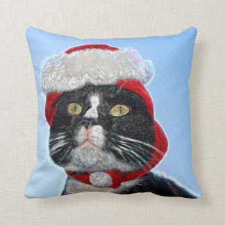 tuxedo cat wearing santa hat sparkle throw pillows