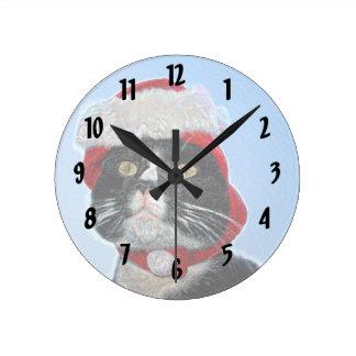tuxedo cat wearing santa hat sparkle wall clocks