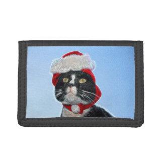 tuxedo cat wearing santa hat sparkle tri-fold wallet