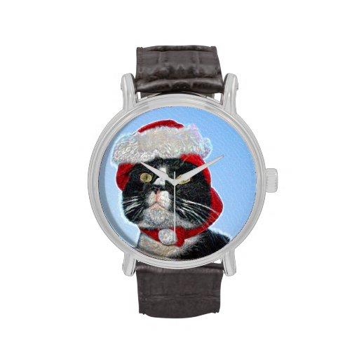 tuxedo cat wearing santa hat sparkle watches