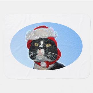tuxedo cat wearing santa hat sparkle receiving blanket