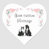 Tuxedo Cat Wedding Customizable Heart Sticker