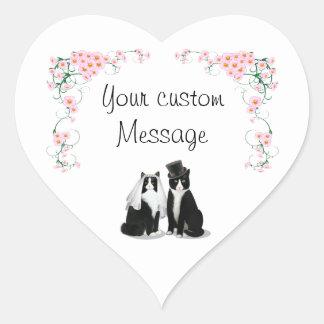 Tuxedo Cat Wedding Customizable Heart Sticker