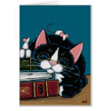 Tuxedo Cat & White Mice Bedtime Story Illustration Card