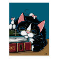 Tuxedo Cat & White Mice Bedtime Story Illustration Postcard