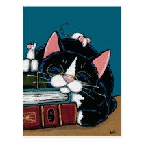 Tuxedo Cat & White Mice Bedtime Story Illustration Postcard