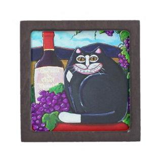 Tuxedo Cat , Wine, and Grapes Box