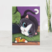 Tuxedo Cat Witches Hat & Candy Corn Halloween Card card