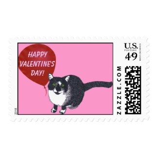 Tuxedo Cat with Balloon Happy Valentine's Stamps