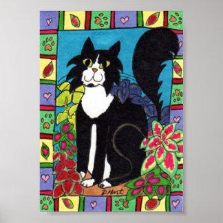 Tuxedo Cat with Coleus Plants Mini Folk Art Poster