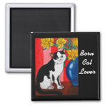 Tuxedo cat with daffodils in a blue vase 2 inch square magnet