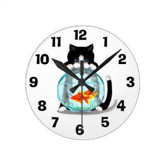 Tuxedo Cat with Fish Clock