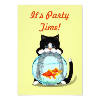 Tuxedo Cat with Fish Invitation