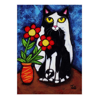 Tuxedo Cat With Flowers Art Poster / Print