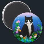 "Tuxedo Cat with Flowers Magnet<br><div class=""desc"">The tuxedo cat sat primly among the flowers.</div>"