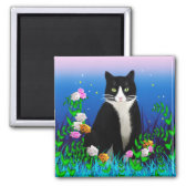 Tuxedo Cat with Flowers Magnet