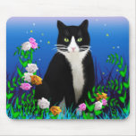 Tuxedo Cat with Flowers Mousepad