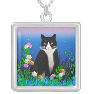 Tuxedo Cat with Flowers Necklace