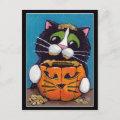 Tuxedo Cat with Halloween Pumpkin Postcard
