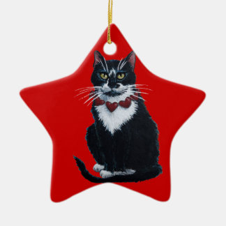Tuxedo cat with heart collar ornament