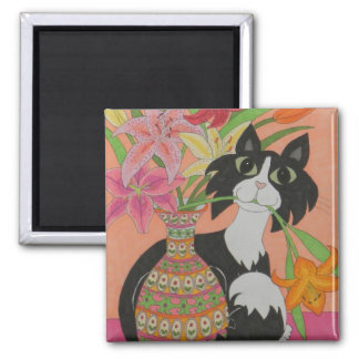 Tuxedo Cat with Lilies Refrigerator Magnets