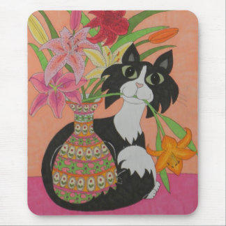 Tuxedo Cat with Lilies Mouse Pad