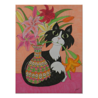 Tuxedo Cat with Lilies Poster