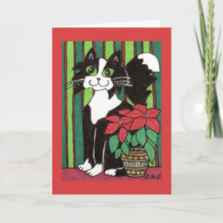 Tuxedo Cat with Poinsettia Greeting Cards