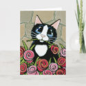 Tuxedo Cat with Red & Pink Roses Greeting Card