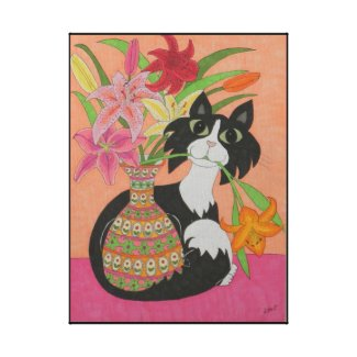 Tuxedo Cat with Vase of Lilies