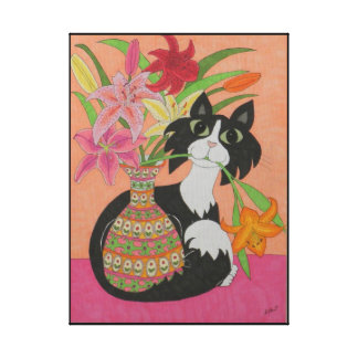 Tuxedo Cat with Vase of Lilies Canvas Print