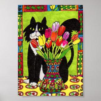 Tuxedo Cat with Vase of Tulips Mini Folk Art Poster
