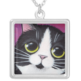 Tuxedo Cat with Yellow Eyes | Cat Art Pendant