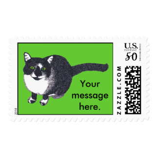 Tuxedo Cat Your Message Postage Stamps