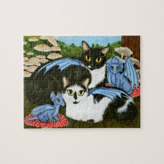 Tuxedo Cats Blue Dragons Mushrooms Art Puzzle