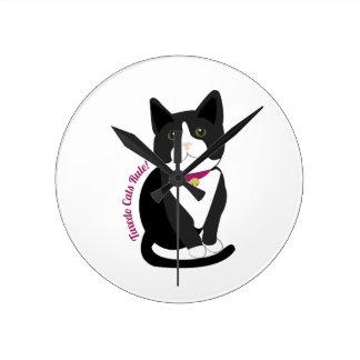 Tuxedo Cats Rule Round Wall Clocks