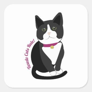 Tuxedo Cats Rule Square Sticker