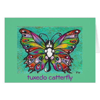 Tuxedo Catterfly Cat/Butterfly Whimsical Fantasy! Greeting Card